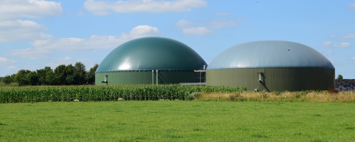 Anaerobic digestion plant in fields