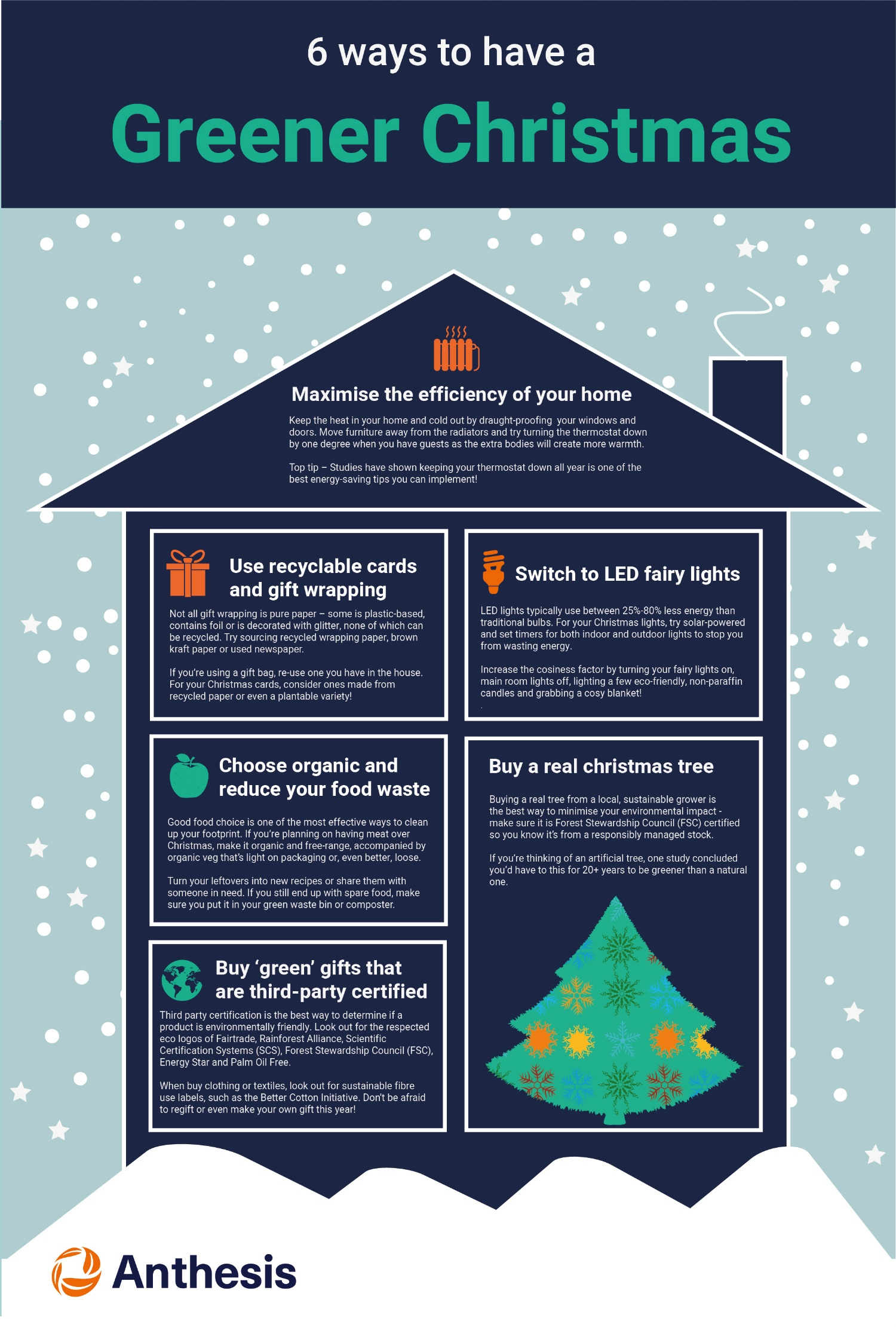 6 ways to have a Greener Christmas infographic - Anthesis