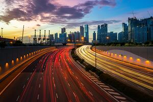 cityscape singapore with traffic