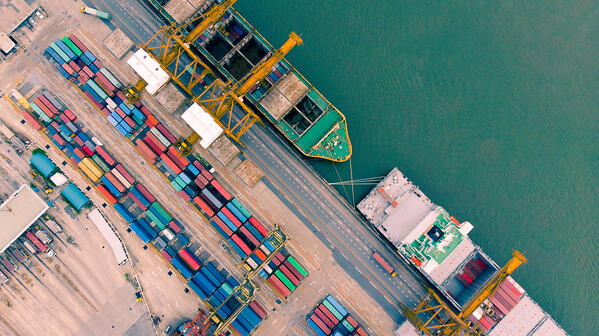 top view of containers ships in yard port